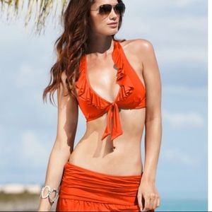 KENNETH COLE  Orange Ruffle Bikini swimsuit small